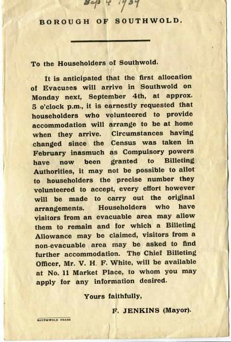 Old Lowestoft – Evacuation scheme